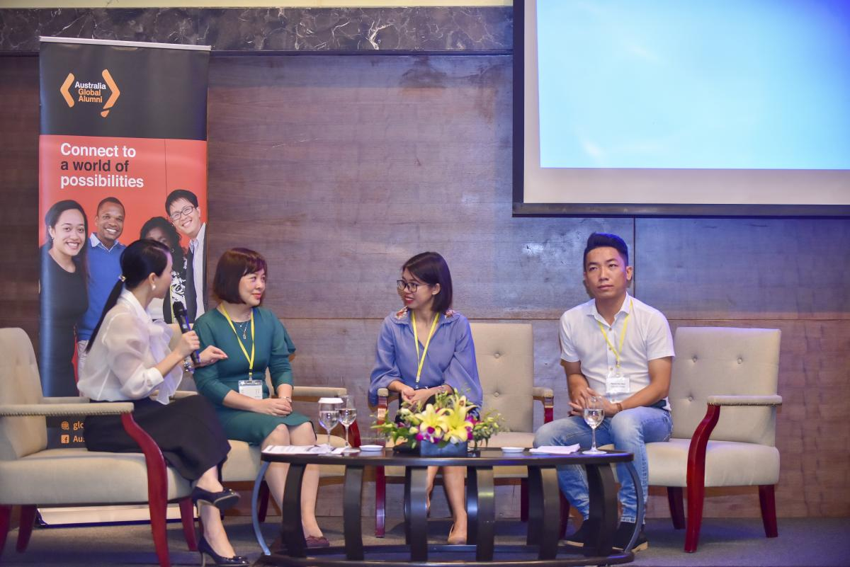 Panelists discussing at the Australian alumni in Vietnam talk show